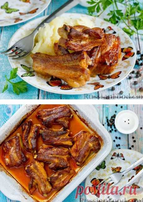 Запечённые свиные рёбрышки - мясо буквально спадает с кости и тает на губах!
