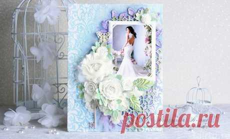 Свадебное фото на холсте. Декор в стиле скрапбукинг.