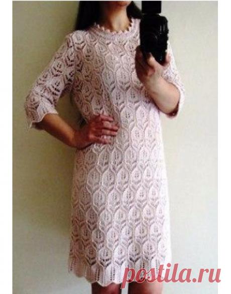 Ажурное японское платье спицами