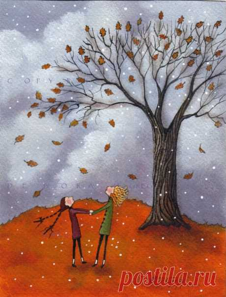 Sisters a Fall Leaves Autumn Oak Tree Snow Small PRINT from   Etsy