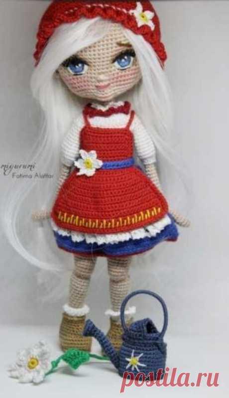 Подробный МК по вязаной кукле крючком Красная шапочка