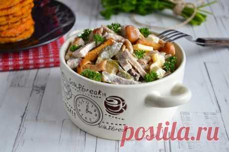 Салат с вареным говяжьим языком и опятами рецепт с фото пошагово и видео - 1000.menu