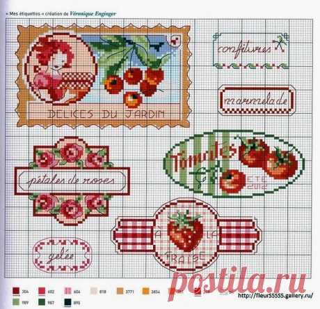 """Features lovely to heart: Embroidery cross: \""""Labels\"""""""