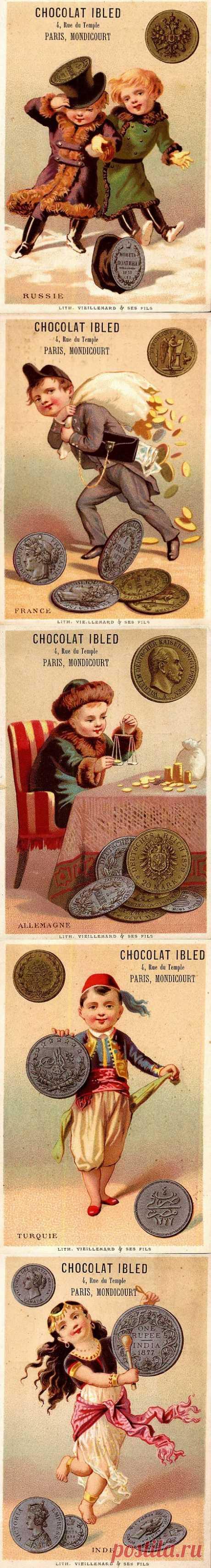 Старая реклама шоколада - монеты.