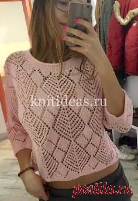 Стильный пуловер с ажурным узором из ромбов. | | Вязаные Идеи.