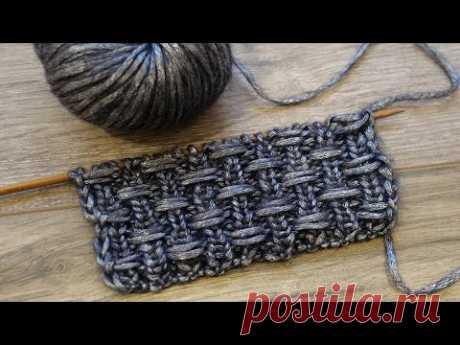 Узор «Протяжки на резинке» спицами ♟ The thread on a rib knitting pattern ✌🏻