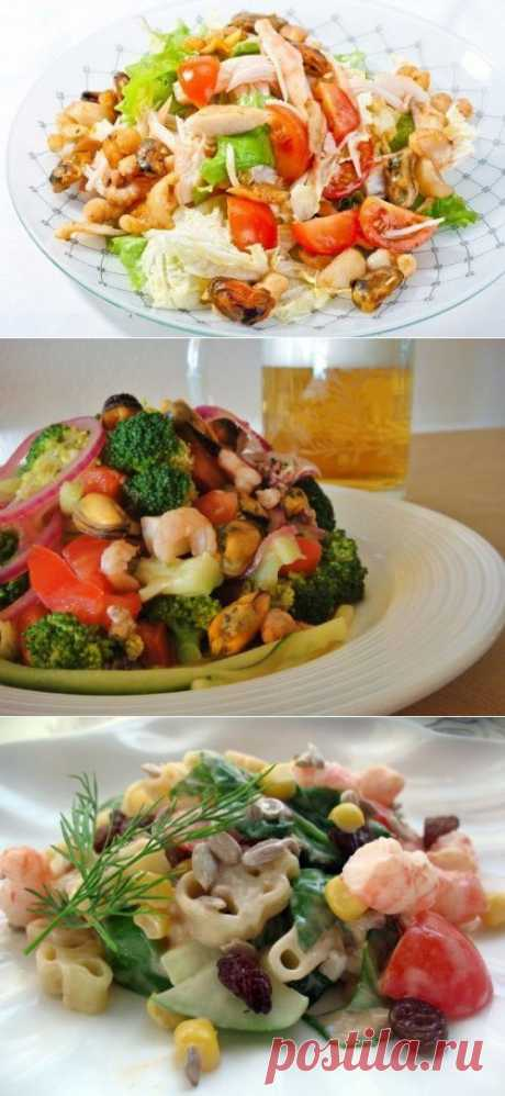 4 быстрых салата с морским коктейлем / Простые рецепты