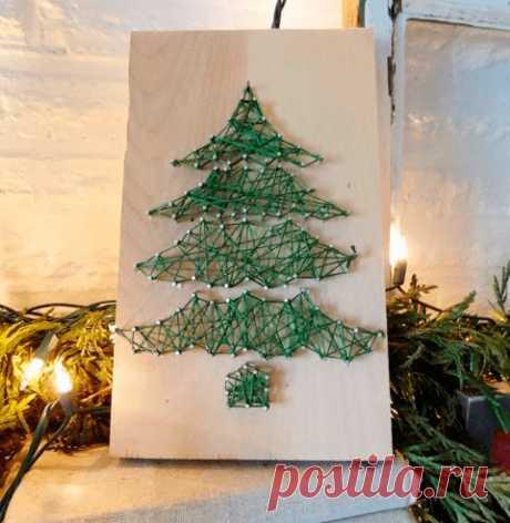 Стринг-арт: новогодняя ёлка из мулине — Сделай сам, идеи для творчества - DIY Ideas
