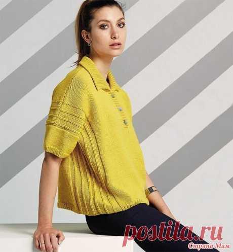 Жёлтый пуловер-поло. - ВЯЗАНАЯ МОДА+ ДЛЯ НЕМОДЕЛЬНЫХ ДАМ - Страна Мам