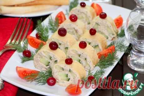 Закуска «Блинчики-рулончики» для праздничного стола