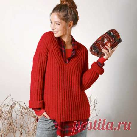 Красный базовый пуловер