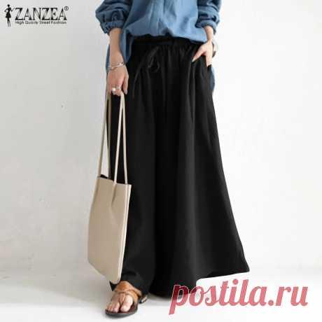 Стильные однотонные брюки с оборками, женские широкие брюки, ZANZEA, Осенние повседневные длинные брюки, палаццо, женские брюки с завязками, размер | Брюки