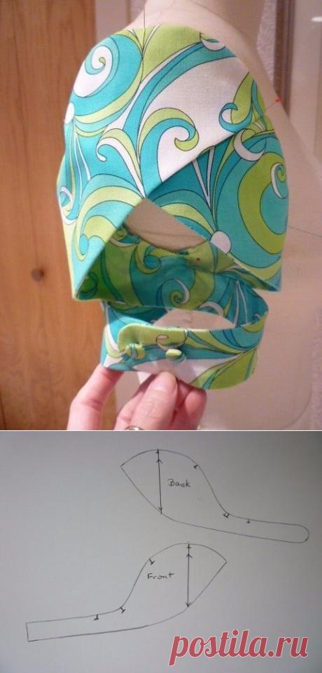 Оригинальная форма рукава. На чертеже -пример преобразования базовой выкройки рукава.