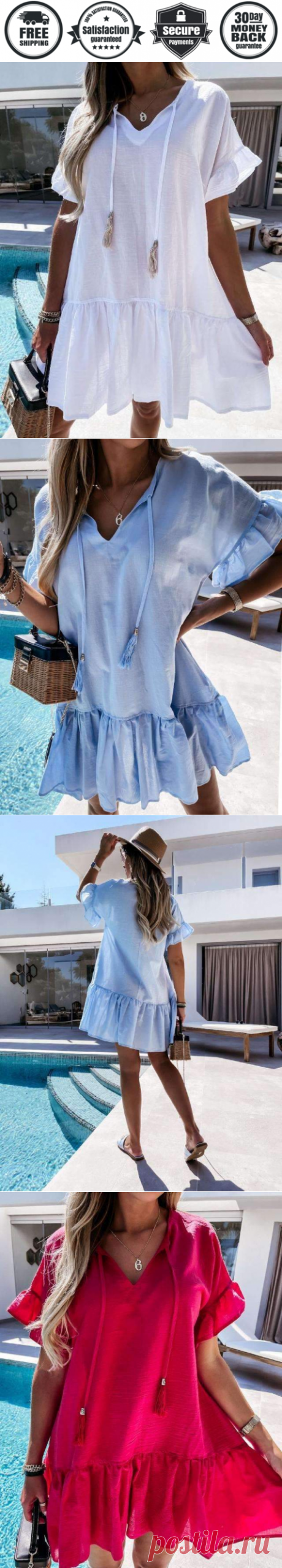 Casual Loose Pure V neck Short sleeve Gored Shift Dresses - Cicicloth