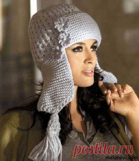 Модные шапки-ушанки спицами | Вяжем с Лана Ви