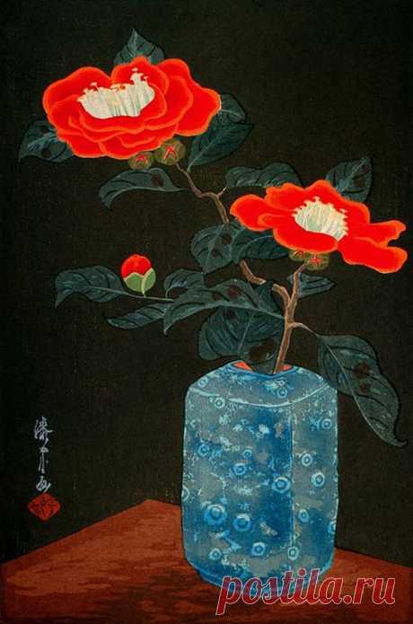 Yoshijiro Urushibara, Camellias in a vase, ca. 1930s  Yoshijiro Urushibara (Japan, 1888-1953)