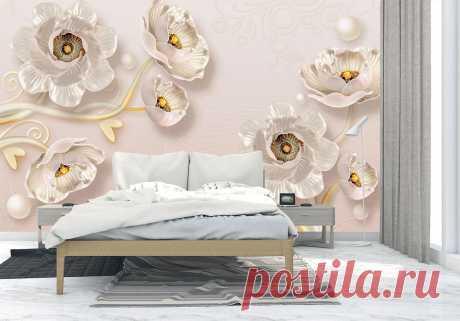 3Д обои с цветами для спальни
