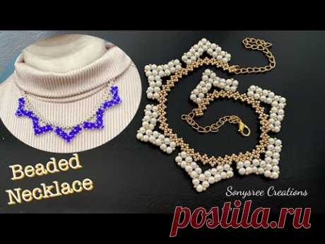Pearl Beaded Necklace    Bicone Necklace    How to make Beaded jewelry