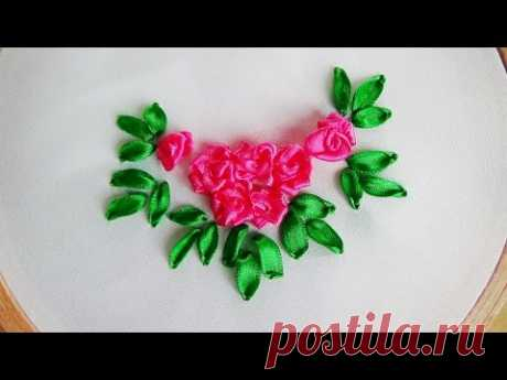 Hand Embroidery: Making Roses with ribbon