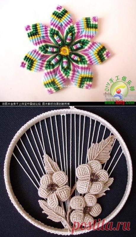 Цветы, связанные в технике макраме — Рукоделие