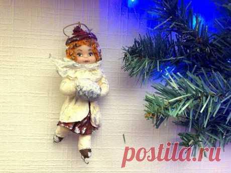 Ватная игрушка на елку Девочка на коньках/Как сделать каркас для ватных игрушек