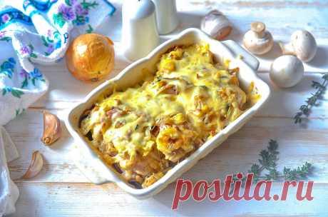 Курица с шампиньонами и сыром в духовке рецепт с фото пошагово и видео - 1000.menu