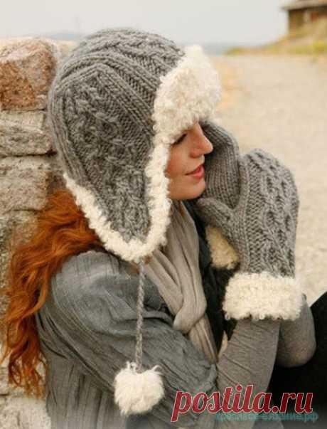Красивое вязание | Зимняя шапка спицами.