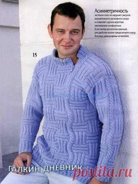 Мужской свитер спицами из категории Интересные идеи – Вязаные идеи, идеи для вязания