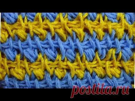 Двухцветный узор Tunisian crochet pattern  50