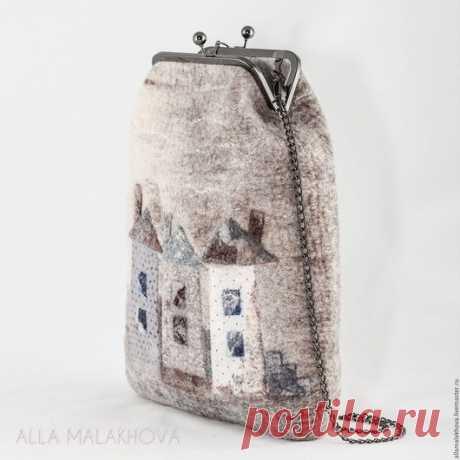 Купить Валяная сумка-ридикюль Мне приснился Город - бежевый, сумка, женская сумка