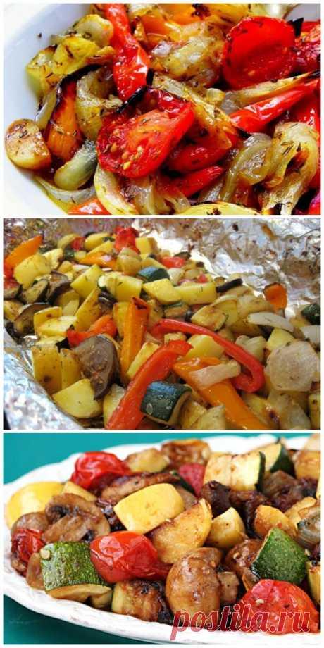 Запеченные овощи в маринаде к шашлыку.
