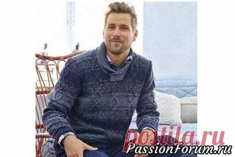 Мужской пуловер в серых тонах. Схема и описание | Вязание для мужчин спицами. Схемы вязания Размеры:XS(S)M(L)XL(XXL)Вам потребуется:пряжа 7 Veljesta (75% шерсть, 25% полиамид, 100 м/50 г)- 150(200)200(250)250(300) г тем¬но-серого цвета (044), 200(200)250 (250)300(300) г серого цвета (048), пряжа 7 Veljesta Nostalgia (75% шерсть, 25% полиамид, 200 м/100 г)-...