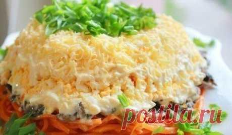 Очень вкусный салат с корейской морковью.
