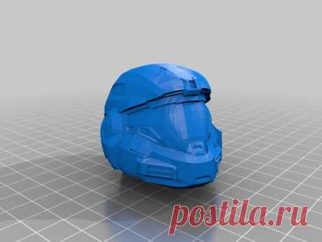 """Halo Helmet V1 by Jace1969 An old file from my Pepakura making days that I discovered in Pepakura Designer you can export to .OBJ and in """"Windows 10 3DBuilder or 123Design"""" export to .STL. Unfortunately I don't have the skills yet to improve further on the model, but maybe someone out there would like to tidy it up. Please upload it back as a remix if you do take the time to clean it up. Please note this was originally uploaded to the net as a free down load. So I cant tak..."""