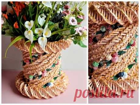 COS CILINDRIC cu trandafiri - CYLINDRICAL BASKET with roses