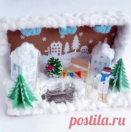 НОВОГОДНИЕ ПОДЕЛКИ. Вот такой новогодне-зимний городок можно смастерить из подручного материала в обычной картонной коробке.