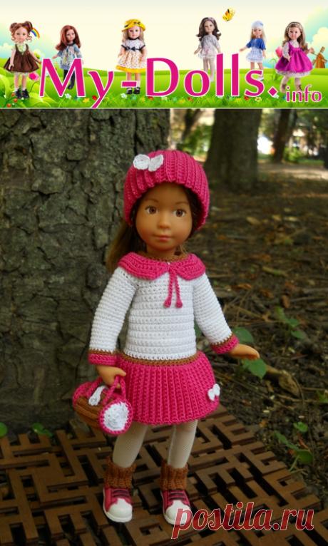 Платье, шапка, гетры и сумка для куклы Kruselings. Мастер-класс по вязанию крючком от Ольги Портновой на My-Dolls.info