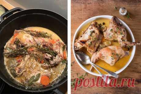 Кролик, томленный c дижонской горчицей в белом вине — Sloosh – кулинарные рецепты