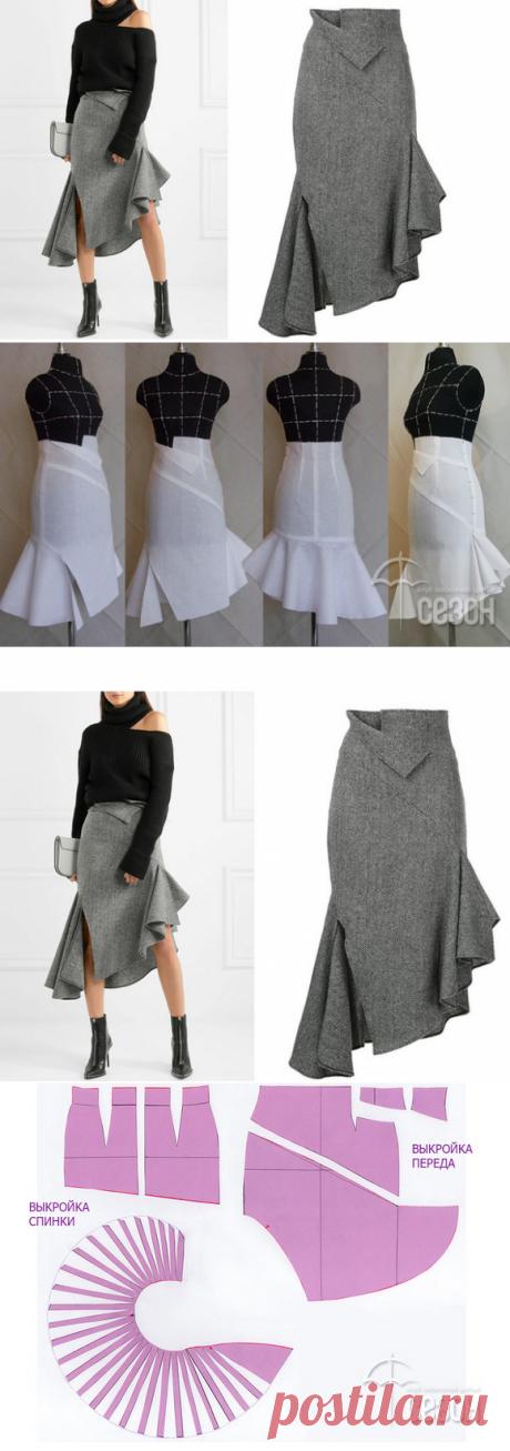 Роскошная юбка с цельнокроенным воланом…