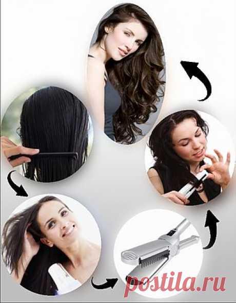 Утюжок для волос превращает волосы в кудри..