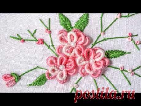 Бразильская вышивка, цветы. МК
