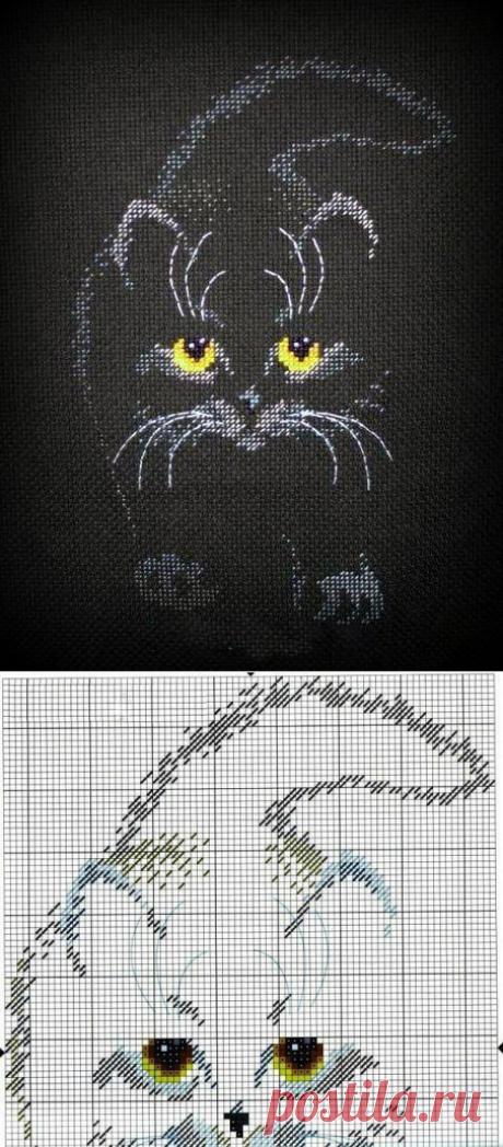 """Схема вышивки """"Кошка"""" на чёрной канве"""