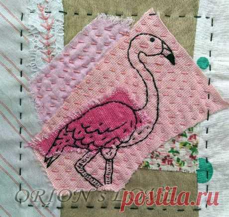 Продолжаю шить в стиле боро! Очаровательный розовый фламинго. Простая вышивка | Блог ЕЛенкино творчество. | Яндекс Дзен