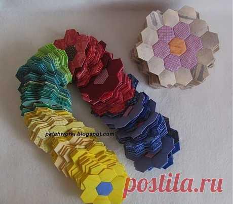 Пэчворк. Создание и сшивание шестиугольников для пледа. Мастер-класс.