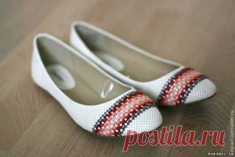 Украшаем обувь вышивкой - мастер класс