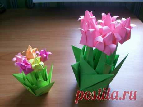 Каждый Из 3 Цветков Складывается Всего Из 1 Квадрата Бумаги - Мастер-классы   Поделки и Подарки Своими Руками   Яндекс Дзен