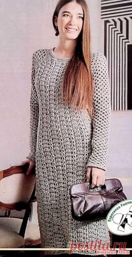 Элегантно. Серое платье с рукавами реглан. .Платье облегающего силуэта, вязаное крючком, подойдет как в качестве делового наряда, так и для вечернего посещения кафе или ресторана.