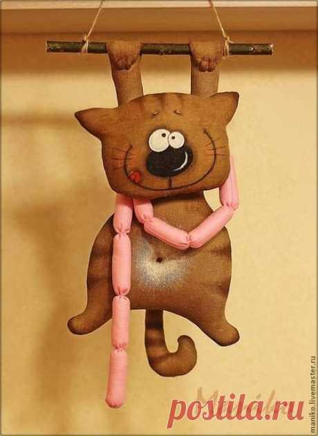 Comprar Interernaya el juguete el Gato con las salchichas - el juguete de la labor a mano, el gato, el juguete aromatizado, el gatito