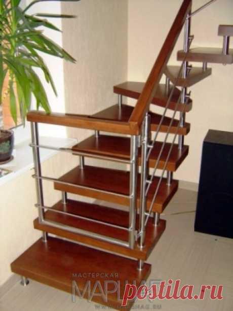 Лестницы, ограждения, перила из стекла, дерева, металла Маршаг – Нержавеющие ограждения лестницы из дерева
