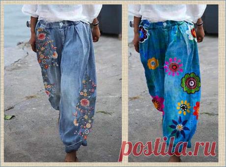 Джинсы с вышивкой - настоящий стиль настоящего лета - большая подборка для вашего вдохновения   МНЕ ИНТЕРЕСНО   Яндекс Дзен